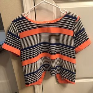 Tops - Neon orange, navy and white crop top.